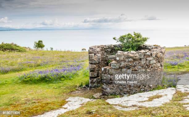 Remains of building on clifftop near Abersoch. Wales Coast Path on the Llyn (Lleyn) peninsula