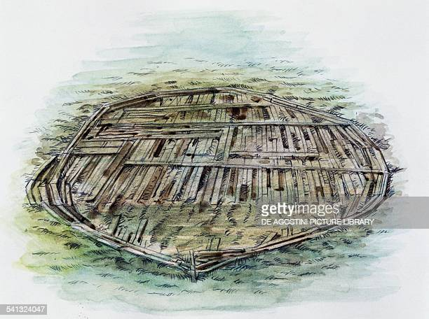 Remains of Caligula's ship found in Lake Nemi drawing Lazio Italy Roman civilisation 1st century