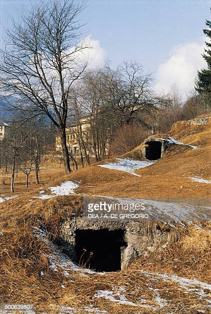 Remains of First World War trenches and communication tunnels Bezzecca TrentinoAlto Adige Italy