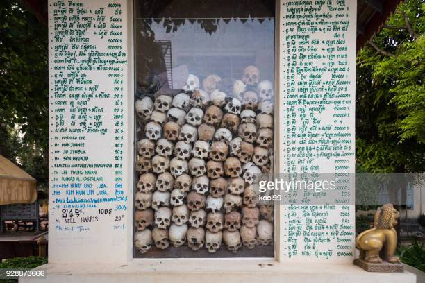 remains of khmer rouge victims in cambodia - khmer rouge stock photos and pictures