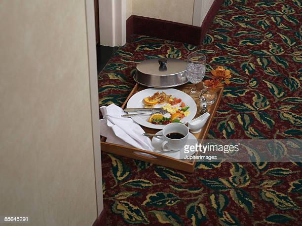 Remains of room service breakfast