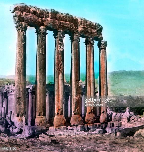 Remains of the ancient city of Baalbek in the Lebanon 1920s