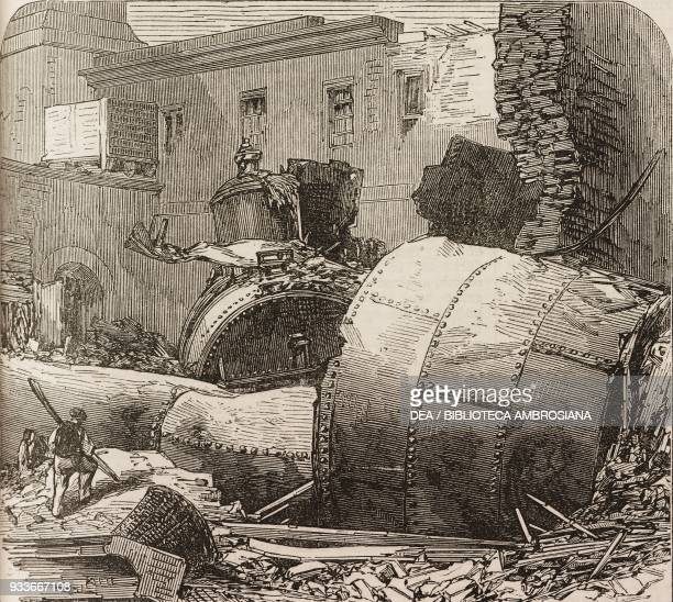 Remains of the boiler in the steam hammer unit explosion in Chatham dockyard United Kingdom illustration from the magazine The Illustrated London...