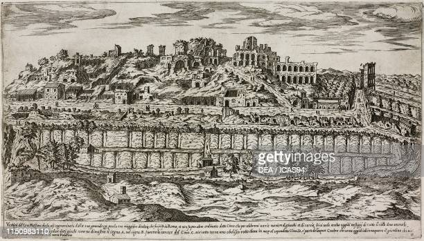 Remains of the Circus Maximus, in the valley between the Aventine Hill and the Palatine Hill, Rome, Lazio, Italy, engraving from I vestigi...