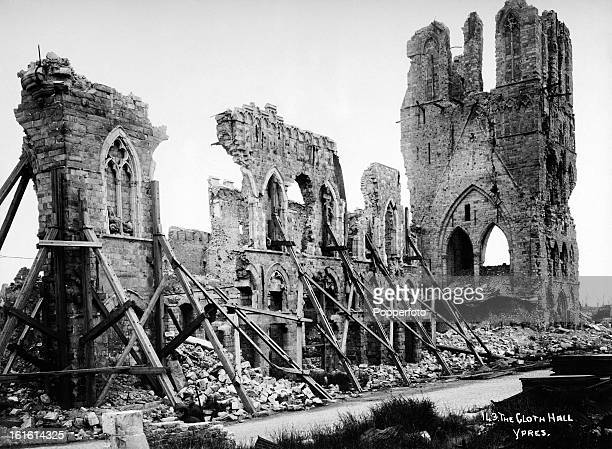 Remains of the Cloth Hall at Ypres in Belgium photographed soon after the end of World War One circa March 1919 This image is from a series...