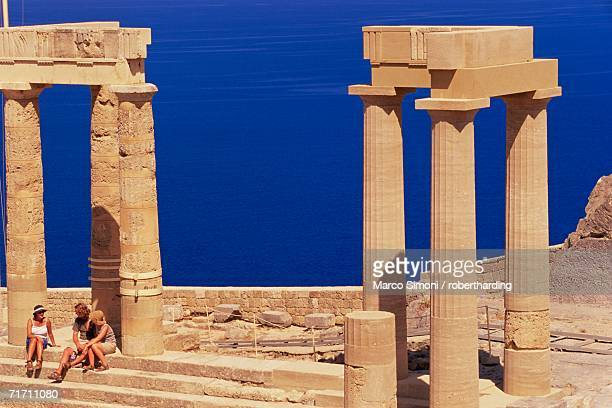 Remains of the Hellenistic stoa, Acropolis of Lindos, Lindos, island of Rhodes, Dodecanese, Greek Islands, Greece, Europe