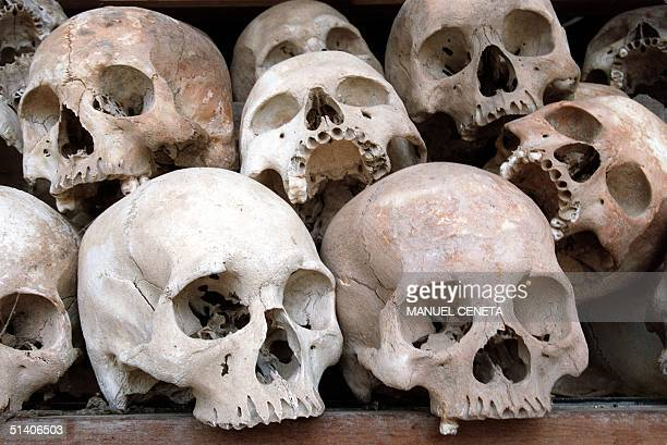 Remains of the victims of the Khmer Rouge genocide from the Killing Fields in Choeung Ek outside the capital Phnom Penh are piled up 18 April The...