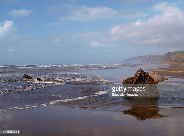 Remains of the wreck of the Portuguese steamship Belem sunk in 1917 Northcott Mouth Beach Bude Cornwall UK