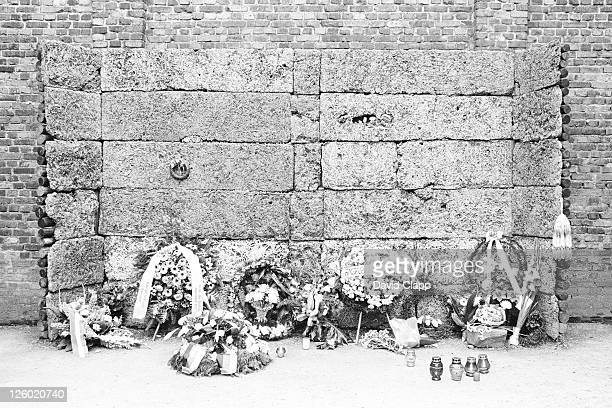 remake of the execution wall in the polish block with genuine tributes, birkenau concentration camp, auschwitz, poland - birkenau stock pictures, royalty-free photos & images