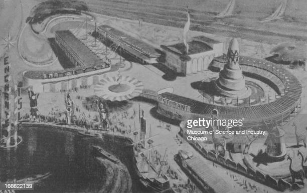 A remarkable sketch shows an aerial view of the Chicago World's Fair Enchanted Island an entertainment venue and playground for children and their...