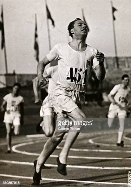 A remarkably sharp 'shot' showing Eric Liddell of the University of Edinburgh winning the 400meter finals in the Olympic Games at the Colombes...