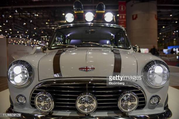 A remastered Mini automobile sits on the David Brown Automotive exhibition stand on day two of the 89th Geneva International Motor Show in Geneva...