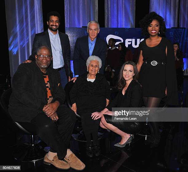 Rembert Browne Jorge Ramos Akilah Hughes Wayne Ford Mary Campos and Alicia Menendez pictured onstage during the FUSION presents the Brown Black...