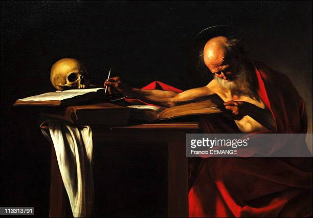 Rembrandt 400 'RembrandtCaravaggio' Exhibition In Van Gogh Museum Amsterdam On February 22Nd 2006 In Amsterdam Netherlands Here St Jerome Writing C...