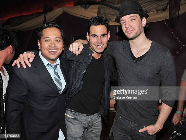 Rembrandt Flores Eric Podwall and singer JC Chasez attend The ASICS Celebration for Leona Lewis' Album at Hyde Lounge on November 17 2009 in Los...