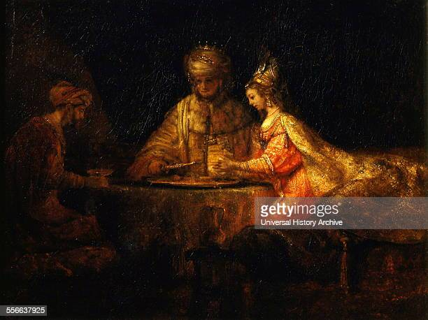 Rembrandt Harmenszoon van Rijn's painting titled 'Ahasuerus and Haman at the Feast of Esther' Rembrandt Dutch painter and etcher of the Dutch Golden...