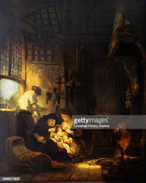 Rembrandt Harmenszoon van Rijn's painting titled 'The Holy Family with St Anne' Rembrandt Dutch painter and etcher of the Dutch Golden Age and...