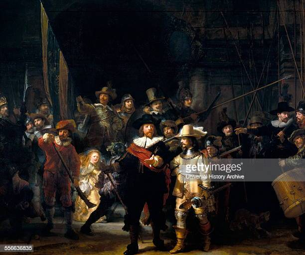 Rembrandt Harmenszoon van Rijn's painting titled 'The Night Watch' Rembrandt Dutch painter and etcher of the Dutch Golden Age and Baroque period...