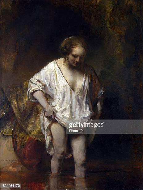 Rembrandt van Rijn Dutch school A Woman Bathing in a Stream Oil on oak
