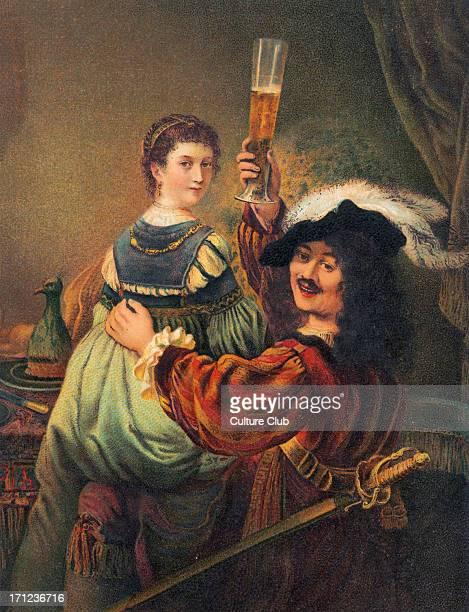 Rembrandt van Rijn Self portrait with his wife Saskia Dutch baroque painter engraver and draftsman 1606 1669