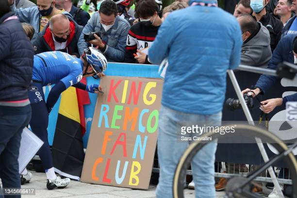 Remco Evenepoel of Belgium and Deceuninck-Quick-Step team signs fans billboard during the 115th Il Lombardia 2021 a 239km race from Como to Bergamo...