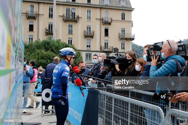 Remco Evenepoel of Belgium and Deceuninck-Quick-Step team speaks with the journalists during the 115th Il Lombardia 2021 a 239km race from Como to...