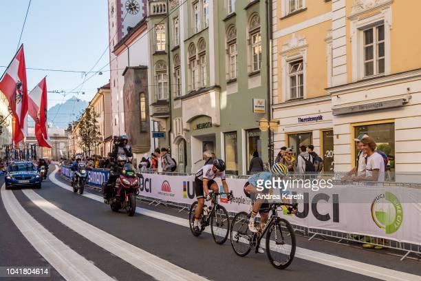 Remco Evenepoel of Belgium and Marius Mayrhofer of Germany in the city of Innsbruck during the Men Junior Road Race of UCI 2018 Road World...