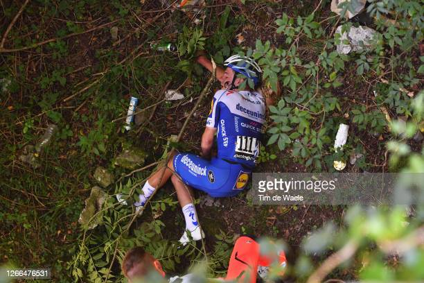 Remco Evenepoel of Belgium and Team Deceuninck - Quick-Step / Crash / Injury / Abandon / during the 114th Il Lombardia 2020 a 231km race from Bergamo...