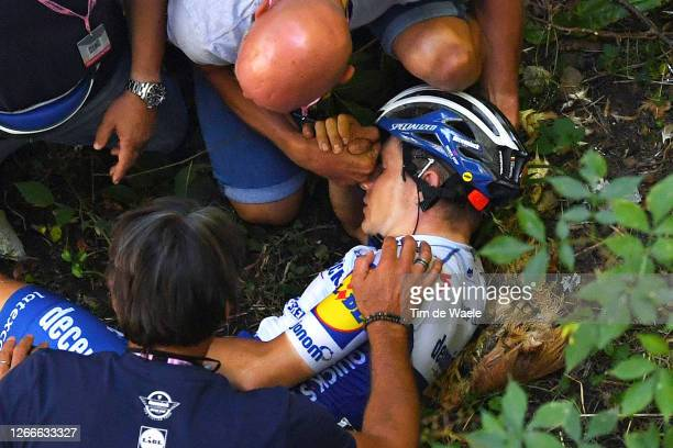Remco Evenepoel of Belgium and Team Deceuninck - Quick-Step / Crash / Injury / Abandon / Doctor / Medical / during the 114th Il Lombardia 2020 a...