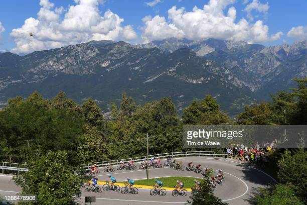 Remco Evenepoel of Belgium and Team Deceuninck - Quick-Step / Jakob Fuglsang of Denmark and Astana Pro Team / Harold Tejada Canacue of Colombia and...