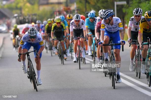 Remco Evenepoel of Belgium and Team Deceuninck - Quick-Step / Mattia Cattaneo of Italy and Team Deceuninck - Quick-Step / Peloton / during the 77th...