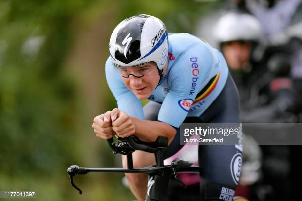 Remco Evenepoel of Belgium / during the 92nd UCI Road World Championships 2019, Individual Time Trial Men Elite a 54km race from Northhallerton to...