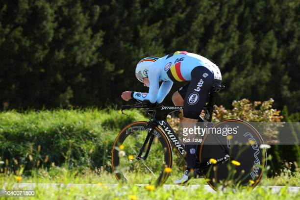 Remco Evenepoel of Belgium / during the Men Juniors Individual Time Trial a 278km race from Wattens to Innsbruck 582m at the 91st UCI Road World...