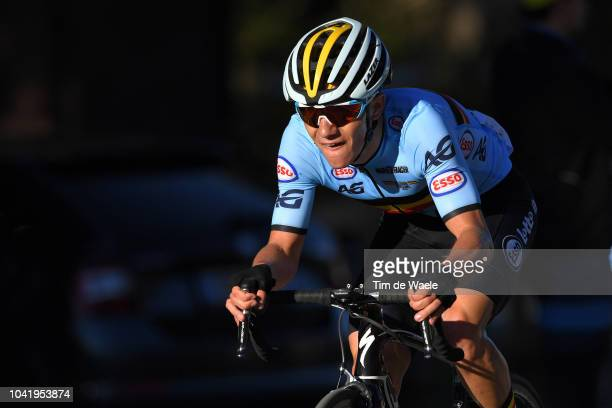 Remco Evenepoel of Belgium / during the Men Juniors Road Race a 1324km race from Kufstein to Innsbruck 582m at the 91st UCI Road World Championships...
