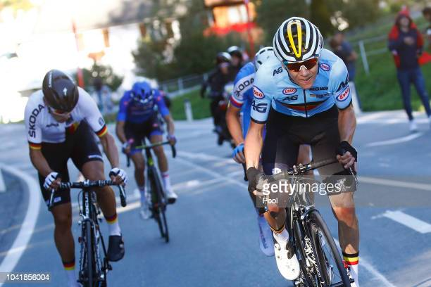 Remco Evenepoel of Belgium / Marius Mayrhofer of Germany / during the Men Juniors Road Race a 132,4km race from Kufstein to Innsbruck 582m at the...