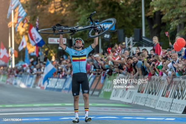 Remco Evenepoel of Belgium on the finish line during the Men Junior Road Race of UCI 2018 Road World Championships on September 27, 2018 in...