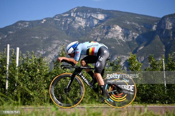 Remco Evenepoel of Belgium sprints during the 27th UEC Road Cycling European Championships 2021 - Elite Men's Individual Time Trial a 22,4km race...