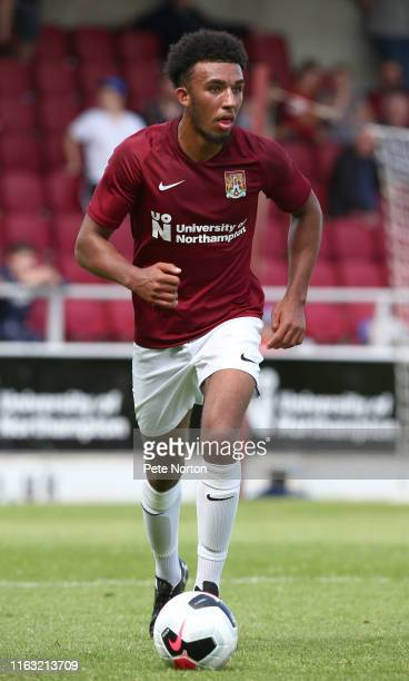 Remeao Hutton of Northampton Town in action during a PreSeason Friendly match between Northampton Town and Sheffield United at PTS Academy Stadium on...