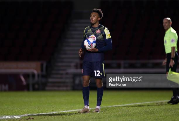 Remeao Hutton of Stevenage in action during the Papa John's Trophy match between Northampton Town and Stevenage at PTS Academy Stadium on November 17...