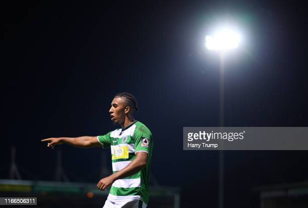 Remeao Hutton of Yeovil Town during the Vanarama National League match between Yeovil Town and Eastleigh FC at Huish Park on August 06 2019 in Yeovil...