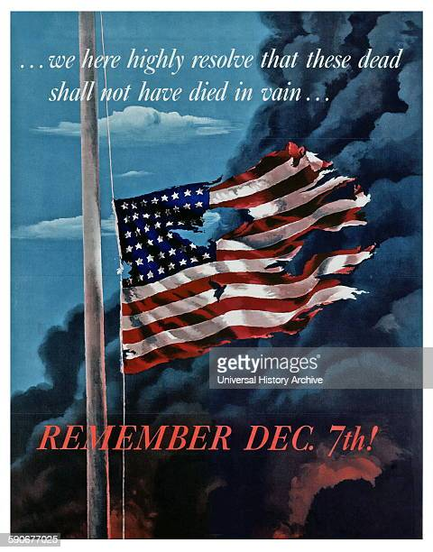 Patriotic propaganda poster in response to the Japanese attack on Pearl Harbour World War two 1941