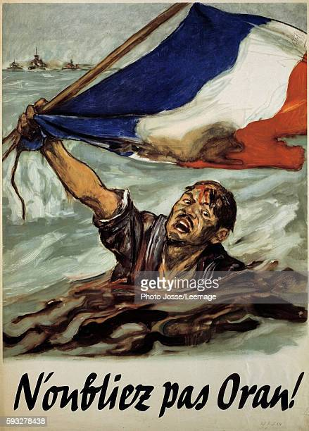 a sailor of the French army victim of english bombardment German poster printed during the occupation of France on the second World War referent to...