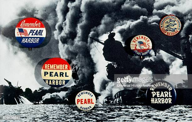 'Remember Pearl Harbor' December 7 Button on Top of USS Arizona Afire