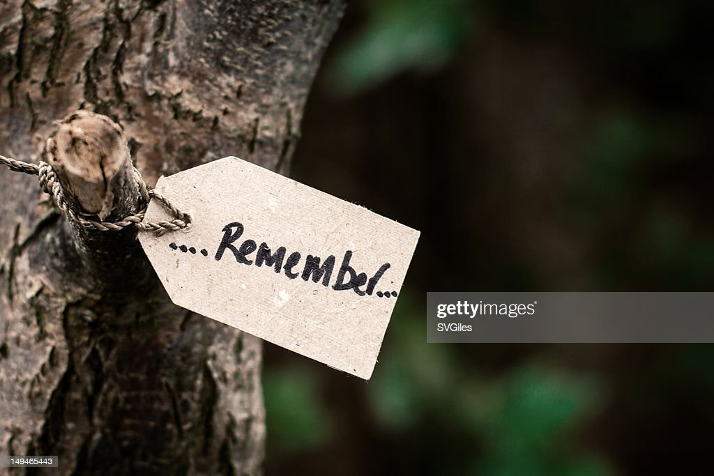 Remember Tag : Stock Photo