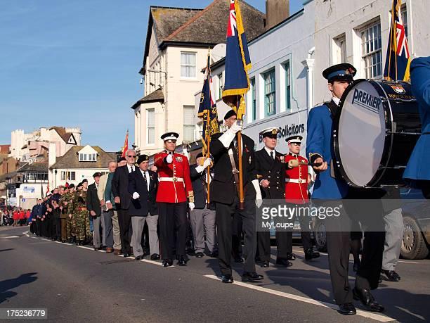 Rememberance day parade Bude Cornwall