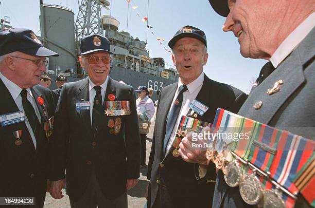 Rememberance Hmcs Athabaskan 04/29/01 Remembering the past L to R Wilf Henrickson , Bill Connolly glasses , Herm Sulkers and Ernie Takalo right with...