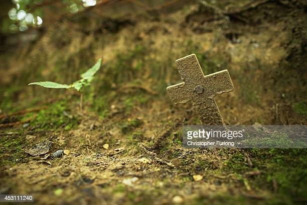 A remembrance cross sits inside the preserved World War One trench system in 'Sanctuary Wood' on August 3 2014 in Ypres Belgium Monday 4th August...