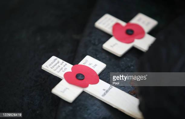 Remembrance crosses at the National Memorial Arboretum in Alrewas, where a virtual Act of Remembrance from the Armed Forces Memorial will be...