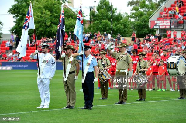 Remembrance day service before the round six ALeague match between Adelaide United and the Newcastle Jets at Coopers Stadium on November 11 2017 in...