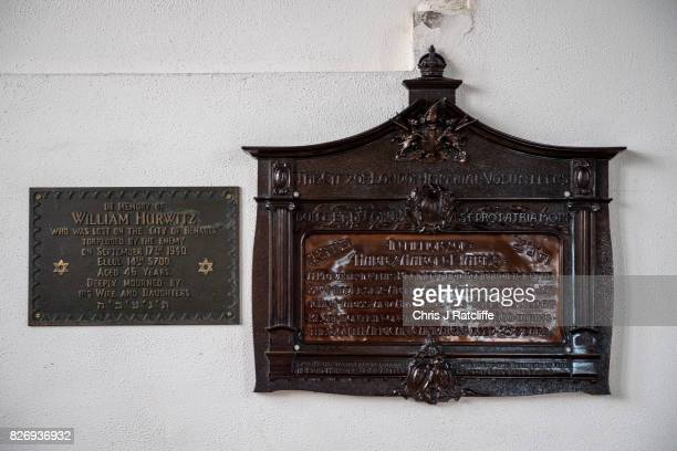 Remembrance plaques hang on the wall of the inside of the prayer hall of the funerary buildings at Willesden Jewish Cemetery also known as the United...